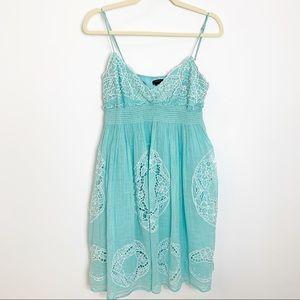 BCBG Mint Aqua Smocked Embroidered Sun Dress SM